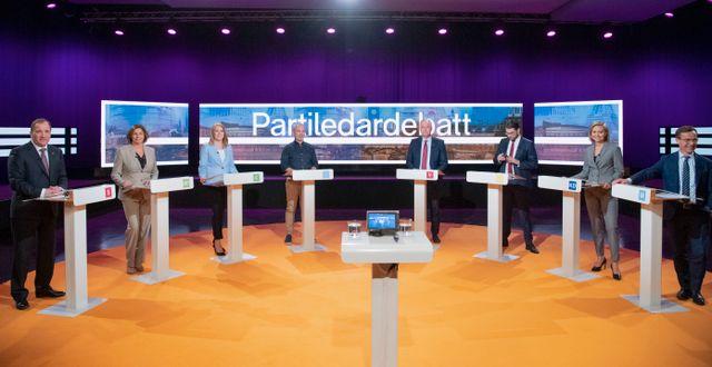 Partiledardebatten i Agenda.  Henrik Montgomery/TT / TT NYHETSBYRÅN
