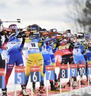 Sveriges Mona Brorsson (nr 15) på skjutvallen tillsammans med några av sina konkurrenter under lördagens jaktstart Anders Wiklund/TT / TT NYHETSBYRÅN