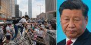 Demonstranter i Hongkong och Xi Jinping.  TT.