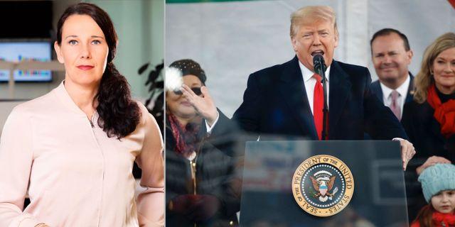 Till vänster: Annika Winsth, Nordeas chefsekonom. Till höger: Donald Trump, president i USA.