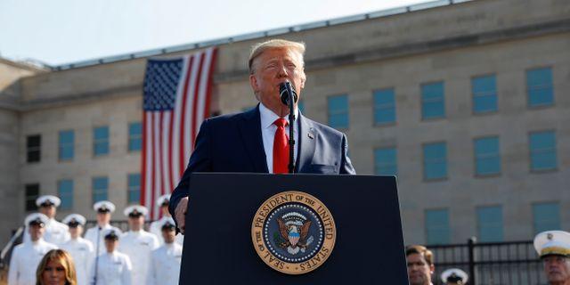 Donald Trump på minnesceremonin vid Pentagon. KEVIN LAMARQUE / TT NYHETSBYRÅN