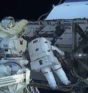Arkivbild: Den svensk-amerikanska astronauten Jessica Meir vid ISS, 10 oktober 2019.  NASA TV / TT NYHETSBYRÅN