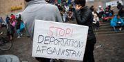 Ensamkommande asylsökande och nätverket Ung i Sverige manifesterar på Medborgarplatsen för att stoppa utvisningarna till Afghanistan.  Henrik Montgomery/TT / TT NYHETSBYRÅN