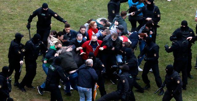 Demonstranter och belarusisk polis drabbar samman i Minsk, Belarus.  TT NYHETSBYRÅN