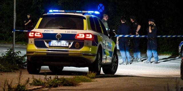 Polis vid avspärrning i närheten av brottsplatsen Jessica Gow/TT / TT NYHETSBYRÅN