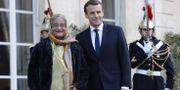 Frankrikes president Emmanuel Macron och statsministern i Bangladesh, Sheikh Hasina innan mötet.  PHILIPPE WOJAZER / POOL