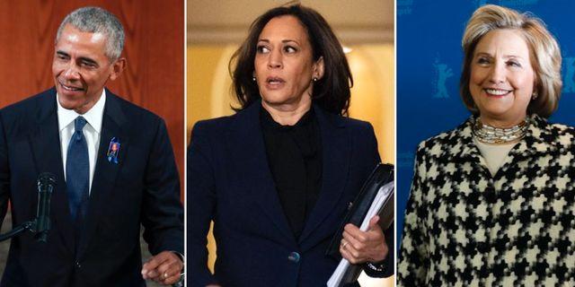 Barack Obama, Kamala Harris och Hillary Clinton. TT