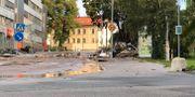 Stora avspärrningar på platsen på fredagsmorgonen Tove Eriksson/TT / TT NYHETSBYRÅN