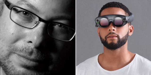 Magic Leaps grundare Rony Abovitz./En modell som demonstrerar företagets headset.  Magic Leap