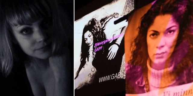 Lisa Magnusson. Arkivbild/Plakat i Berns salonger i Stockholm under en minneshögtid för Fadime Sahindal som mördades för fjorton år sedan.  TT
