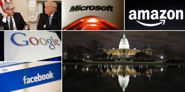 Donald Trump och Apples Tim Cook i Vita huset. Flera techbolag har i år satsat mer för att påverka Trumps administration och kongressen. Arkivbilder. TT