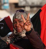 Kvinnor markerar årsdag för Muammar Gadafis fall.  Libyen. Arkivbild. Mohammad Hannon / TT NYHETSBYRÅN