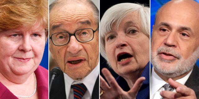 Några av undertecknarna (från vänster): Christina Romer, Alan Greenspan, Janet Yellen, Ben Bernanke TT