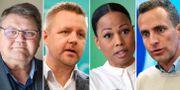 Peter Lundgren (SD), Fredrik Federley (C), Alice Bah Kuhnke (MP), Tomas Tobé (M).  TT