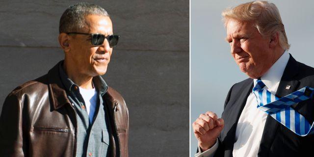 Barack Obama och Donald Trump. TT