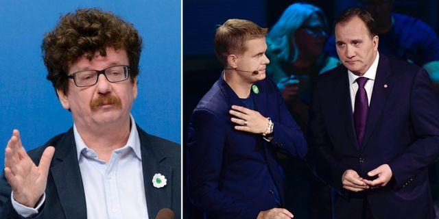 Lars Stjernkvist/Gustav Fridolin och Stefan Löfven. TT