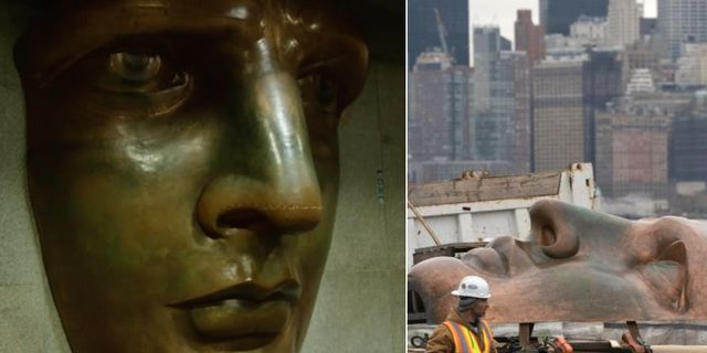 En exakt kopia av Frihetsgudinnans ansikte kommer att visas på Statue of Liberty Museum, som slår upp i maj 2019. AFP/Getty