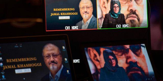 Bilder av Jamal Khashoggi och fästmön Hatice Cengiz JIM WATSON / AFP