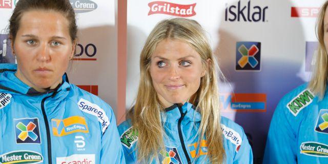 Therese Johaug på presskonferensen. Kallestad, Gorm / TT NYHETSBYRÅN