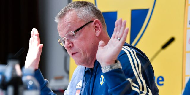 Janne Andersson under pressträffen. Henrik Montgomery/TT / TT NYHETSBYRÅN