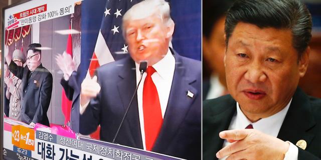 Till vänster: Tv-bilder i Seoul i Sydkorea visar Donald Trump och Kim Jong-Un. Till höger: Kinas president Xi Jinping.  TT