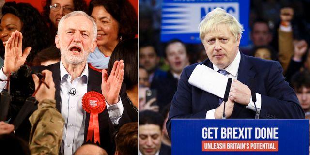 Jeremy Corbyn och Boris Johnson. TT