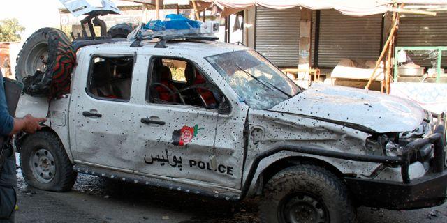 Afghansk polisbil. Arkivbild STR / TT NYHETSBYRÅN