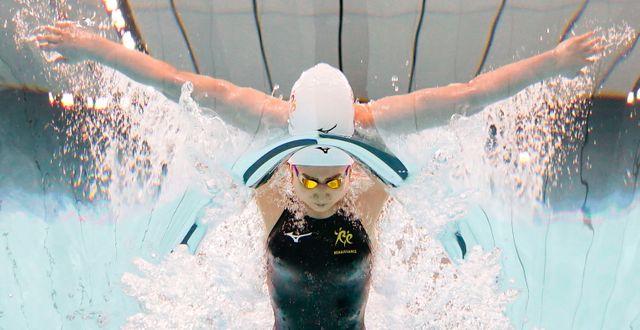 Den japanska simmerskan Rikako Ikee.  Iori Sagisawa / TT NYHETSBYRÅN
