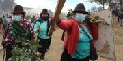 Kvinnor protesterar.  Dolores Ochoa / TT NYHETSBYRÅN