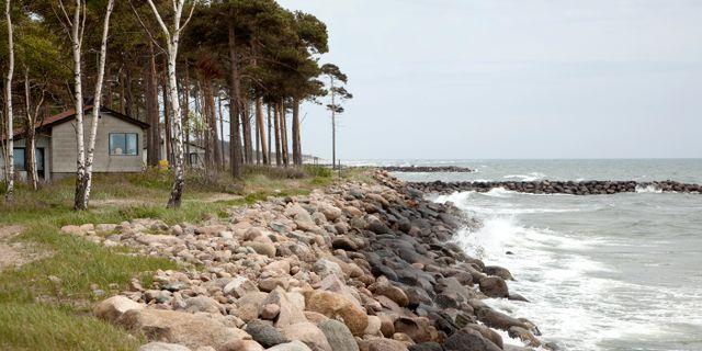 Sten har lagts ut för att stoppa erosionen vid Löderups strandbad i Ystad. Stig-Åke Jönsson / TT / TT NYHETSBYRÅN