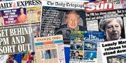 Tidningssidorna om brexit i dag. Tim Ireland / TT NYHETSBYR≈N/ NTB Scanpix