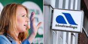 """Centerpartiets partiledare Annie Lööf, samt en skylt där det står """"Arbetsförmedlingen"""". Arkivbilder. TT"""