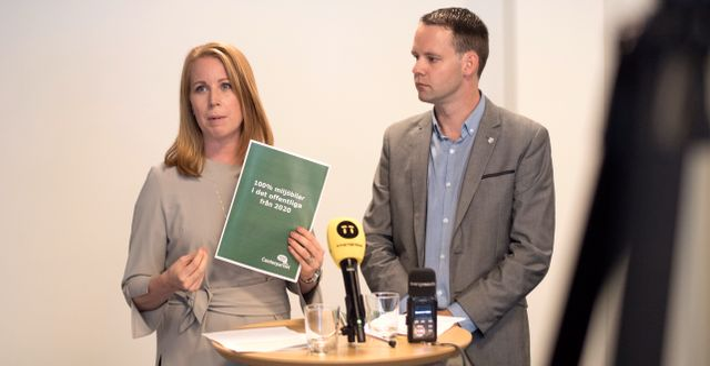 C-duon Annie Lööf och Rikard Nordin. Björn Larsson Rosvall/TT / TT NYHETSBYRÅN
