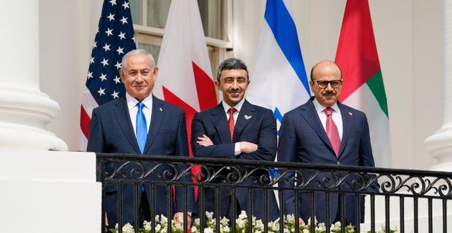 Israels premiärminister, Förenade arabemiratens utrikesminister och Bahrains utrikesminister. Alex Brandon / TT NYHETSBYRÅN