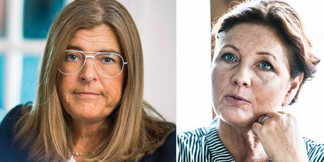 Therese Guovelin på LO och Metalls ordförande Marie Nilsson. TT