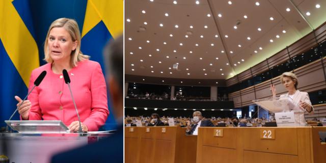 Finansminister Magdalena Andersson och EU-kommissionens ordförande Ursula von der Leyen. TT