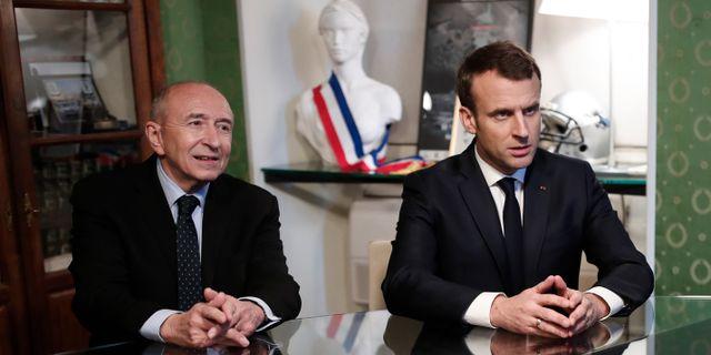 Den franska inrikesminister Gerard Collomb med president Emmanuel Macron. Benoit Tessier / TT / NTB Scanpix