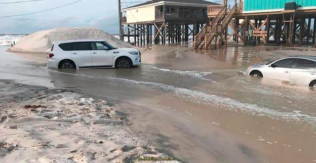 En strand i Alabama har svämmat över inför Sallys ankomst Jeff Collier / TT NYHETSBYRÅN