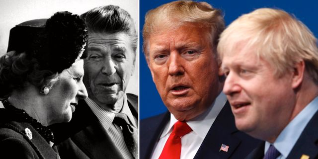 Margaret Thatcher och Ronald Reagan/Donald Trump och Boris Johnson. TT