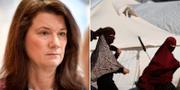 Utrikesminister Ann Linde (S) / kvinnor i Al-hol lägret i Syrien. TT