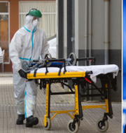 En sjukvårdare i Spanien/Österrikes förbundskansler Sebastian Kurz. TT