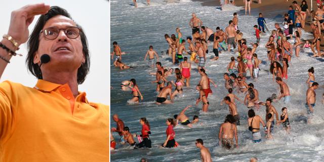 Petter Stordalen under dagens pressträff/människor på en strand. TT