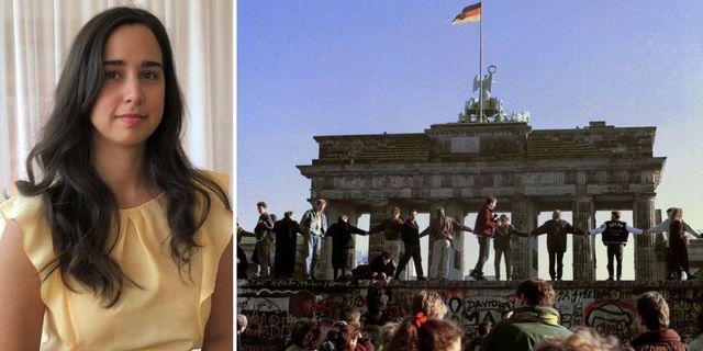 Till vänster på bild: Ana Cristina Hernández. Till höger: Berlinmuren. Foto: Maja Cronstetd/AP/TT