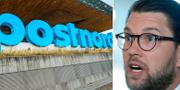 Postnords huvudkontor i Solna och partiledaren Jimmie Åkesson (SD). Arkivbilder. TT.