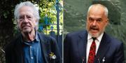 Författaren Peter Handke och Albaniens premiärminister Edi Rama.  TT