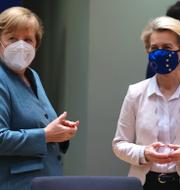 Boris Johnson. Angela Merkel och Ursula von der Leyen.  TT