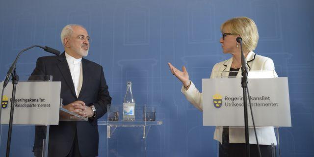 Irans utrikesminister Mohammad Javad Zarif vid en presskonferens med Sveriges utrikesminister Margot Wallström Maja Suslin/TT / TT NYHETSBYRÅN
