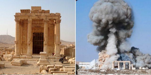 En arkivbild på Baalshamin-templet och en bild från IS egna propaganda, där det sprängs. TT