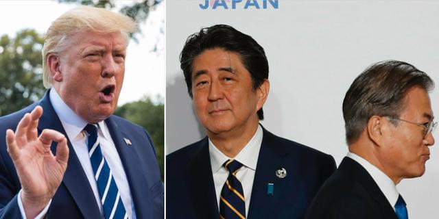 USA:s president Donald Trump, Japans premiärminister Shinzo Abe och Sydkoreas president Moon Jae-in. TT