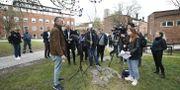 Reportrar och Folkhälsomyndighetens Anders Tegnell Ali Lorestani/TT / TT NYHETSBYRÅN
